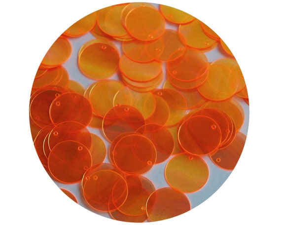 Round Flat Sequin 12mm Top Hole Brassy Orange Gold Metallic Made in USA