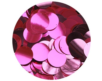 Sequin 30mm flat round Pink Fluorescent Metallic Paillettes. Made in USA.