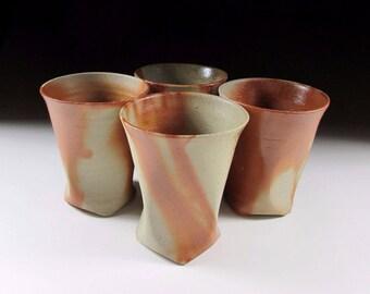 Set of Four Bizen-ware Beer Cups, Tumblers, Koedo