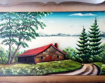 Low relief cottage water c 1950 pin mounted on sculpted and handpainted signed H n masonite Panel.