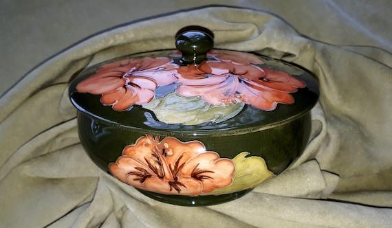 Mid Century Pottery Glazed Ceramic Hibiscus Planter Bowl