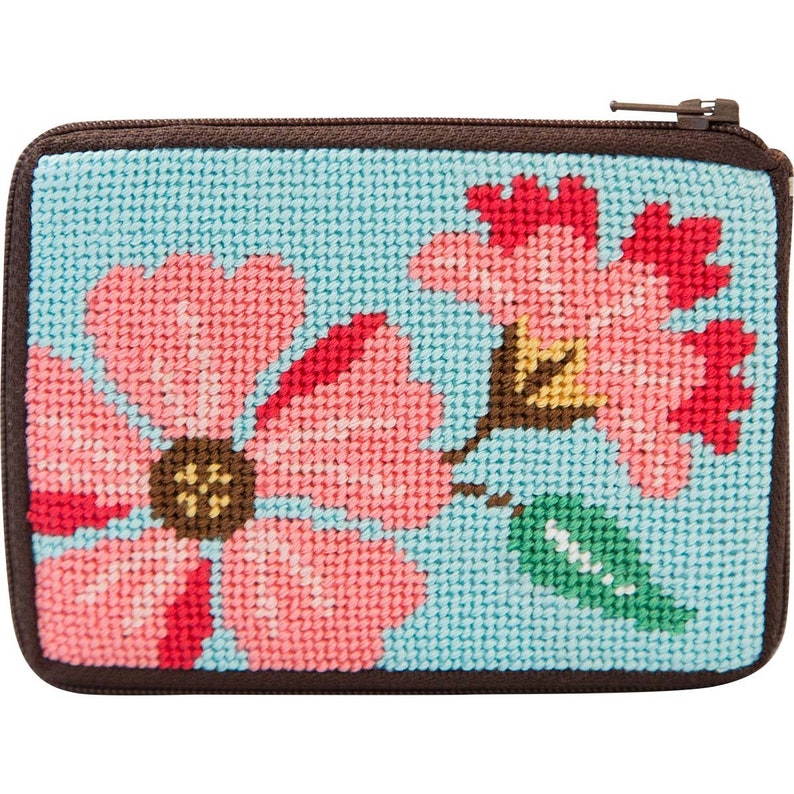 Pink Flowers Alice Peterson Stitch /& Zip Needlepoint Coin Purse Kit