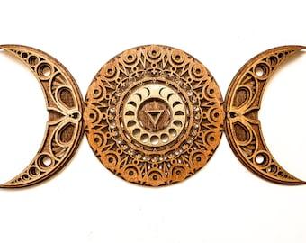 Triple Moon Goddess Moon Phases Mandala Multilayer Laser Cut Wood Sculpture Sacred Geometry Visionary Art