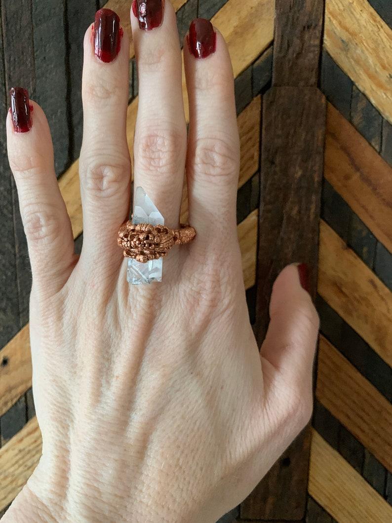 Clear Quartz Copper Electroformed Ring Size 8