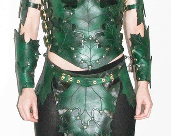 Womans Leather Green Leaf Forest Elf Full Armor Costume for LARP Ren Fair or Cosplay