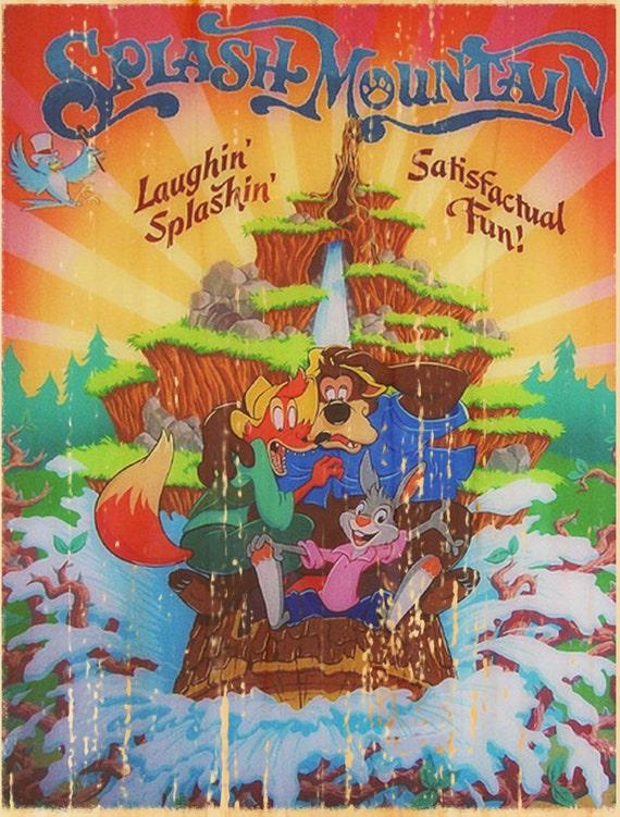 Vintage Disney Splash Mountain Attraction Poster Wall Art