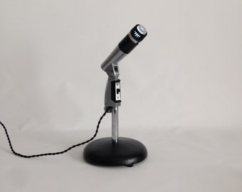 Upcycled Retro Microphone Table Lamp. Desk Lamp. Vintage Microphone.  LED Lamp. Industrial Lighting. *Free Shipping* remember to *LIKE* us!