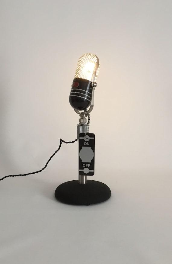 Microfono Retro Reciclado La Lampara De Escritorio Lampara Etsy