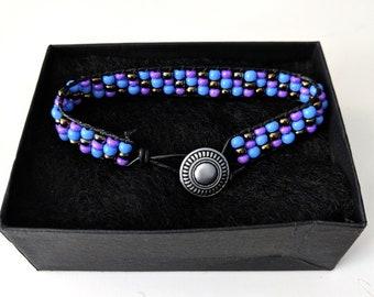 Boho Beaded bracelet, purple