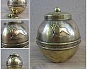 1924 Brass souvenir tea caddy lipton 39 s tea - Lipton 39 s Souvenir British Empire Exhibition 1924, vintage tea canister.