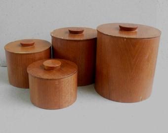 Nestling teak canisters , kitchen canisters ,Danish modern canisters , vintage canister set Japan 1960s.