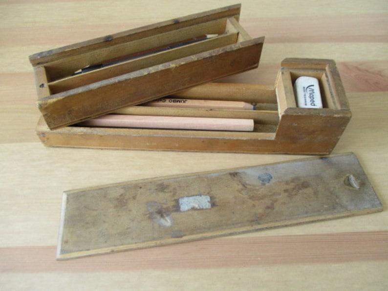Vintage Wooden Pencil Case Pencil Box 1960s 70s Swing Out Pencil Boxswing Out Pencil Case