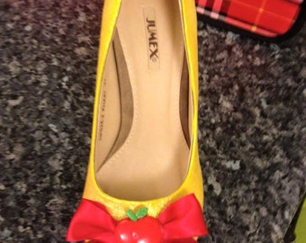 Snow White Disney Princess Inspired High Heeled Glitter Party Evening Shoes