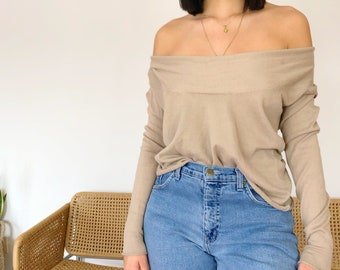 cfee23dbf1a Cropped Sweater - Beige Off The Shoulder Sweater - Vintage Sweater -  Vintage Reworked Clothing - Vintage Clothing