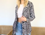 Zebra Trench Coat - 90s Festival Jacket - Vintage Zebra Coat - Vintage Womens Clothing - Vintage Clothing - Y2K Clothing Women 39 s Clothing