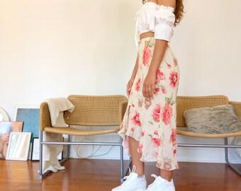 Women/'s Festival Vintage Skirt 90s Floor Length Skirt Flower Print Vintage Clothing Summer Clothing Floral Skirt Y2K Clothing