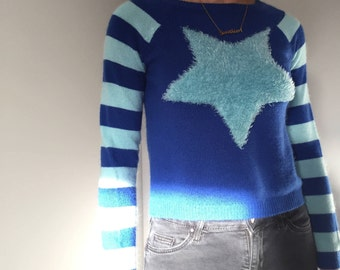 blue fuzzy star sweater