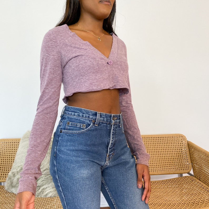 Cardigan for Women Vintage Clothing Purple Cardigan Cropped Tops Crop Top Y2K Clothing Womens Clothing Cropped Cardigan