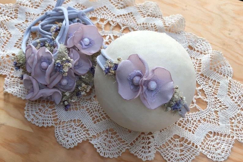 Newborn Tiebacks,Newborn Photography headband,Stretchy baby Headbands Infant Flower Headbands Lilac Baby Headband Newborn Flower Tiebacks