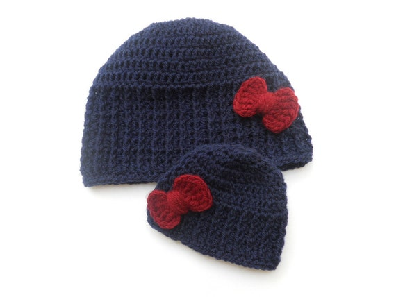 Matching mom and baby hats-Navy Burgundy bow hat-mama and me  bd94e18ea74
