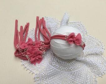Coral Baby Headband, Baby Bow Headband,Newborn Bow Headband, infant head bands, Coral Baby Props, Delicate Baby Halo, Stretcy, RTS