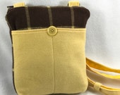 upcycled wool shoulder purse-cross body purse-medium purse-UpCycled women 39 s suit jacket and a wool brown and yellow plaid scarf-repurposed