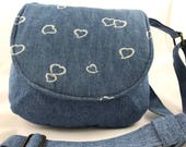 Repurposed cotton denim shoulder bag-medium sized purse-UpCycled jumper and skirt-repurposed-eco-friendly-washable-cotton saddle bag-hearts