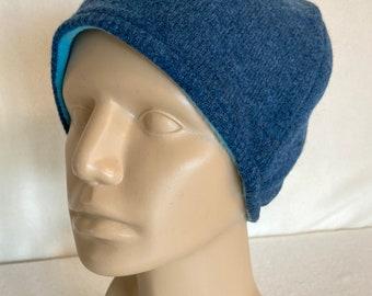 deep green-ecofriendly-green gift-fleece lined Up cycled-wool blend-MEDIUM-toque-repurposed-wool hat-up cycled hat-warm hat-washable wool