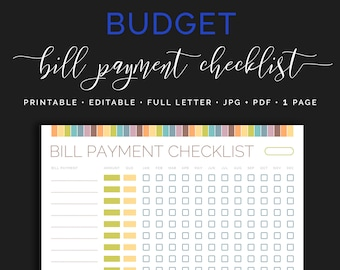 monthly bill payment tracker bills due date checklist payday etsy
