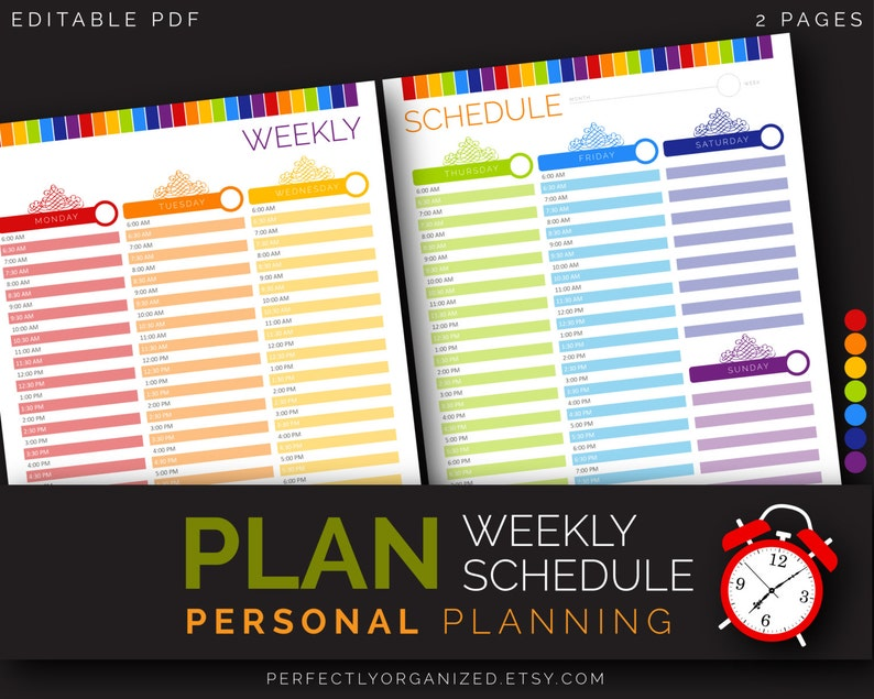 Weekly Everyday Time Schedule Tracker Calendar Reminder Alarm image 0