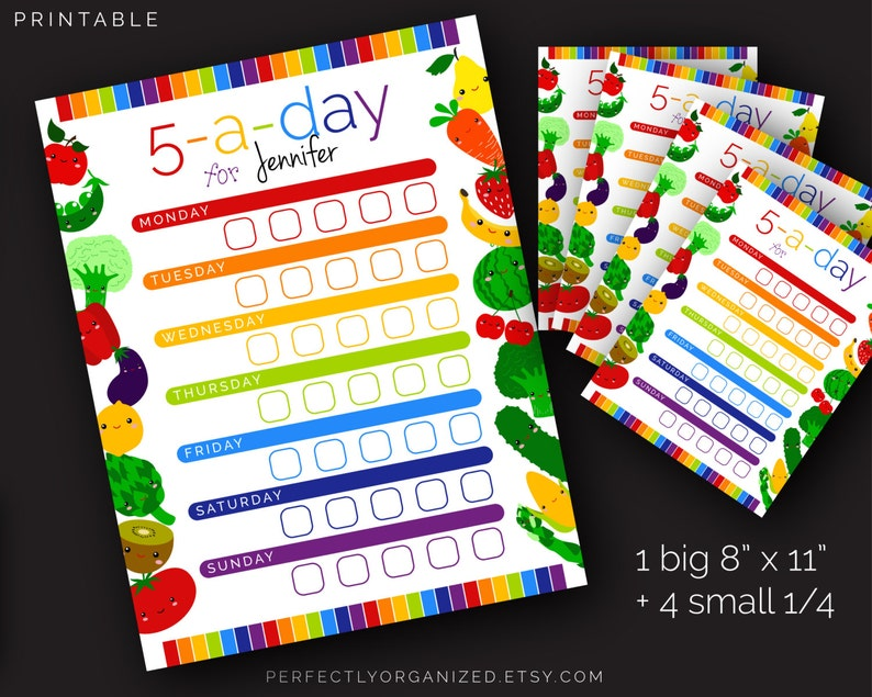 Kids Healthy Eating Chart, Dry Erase 5-a-day Fruit Veggies Printabe Chart  || Rainbow Wall Planner Organizer DIY || Household PDF Printables