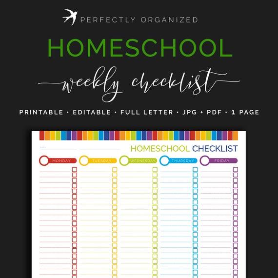 weekly homeschool checklist kids childrens lesson plan chart etsy rh etsy com