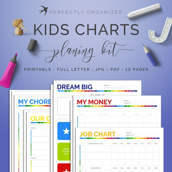 kids chore charts job chart reward goal money tracker etsy