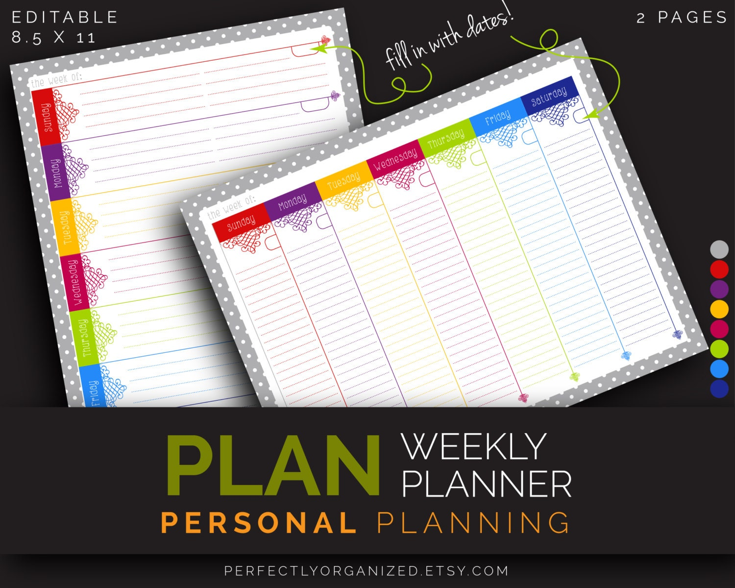graphic relating to Diy Planner Organizer referred to as Weekly Planner Program, Toward Do Checklist, Weekly Calendar Rainbow Editable Printable PDF Planner Organizer Do it yourself Relatives PDF Printables