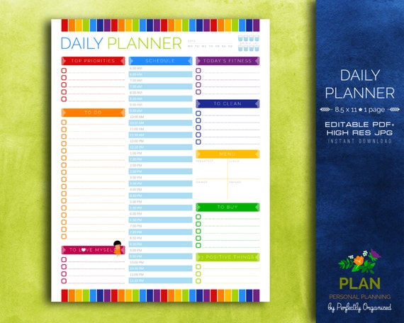 picture relating to Diy Planner Organizer named Each day Planner, Day-to-day Calendar, Every day In the direction of Do Listing Rainbow Editable Printable PDF Planner Organizer Do it yourself Property PDF Printables