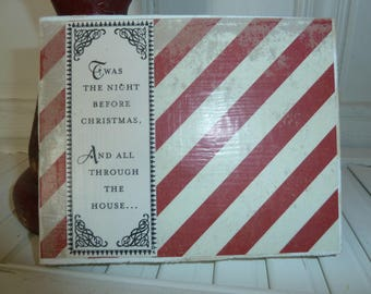 Handmade primitive wooden distressed sign - Twas the Night Before Christmas