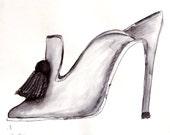 Jimmy Choo Fashion Original Art Ink Sketch
