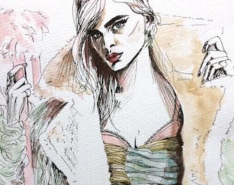 Vogue Fashion Editorial Illustration Original Wall Art
