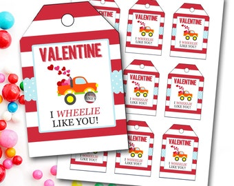 Valentine's Day Tag, Boy Valentine's Tag, Truck Valentine's Tag, Monster Truck, Instant Download, Party Favor Tags, DIY Printable