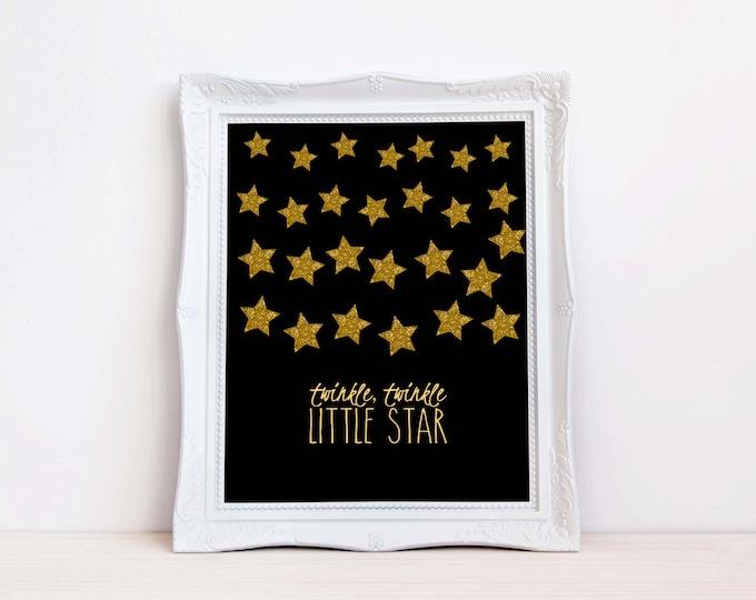 Twinkle Twinkle Little Star Wall Art, Gold Glittler Wall Art,Instant Download,Childrens Wall Art,Kids Wall Art,Nursery Wall Art,DIY Wall Art