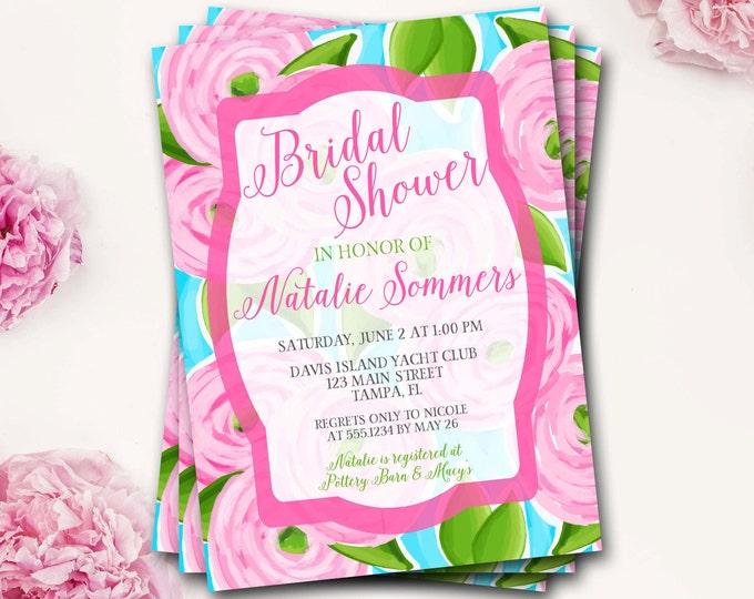 Floral Bridal Shower Invitation, Flower Bridal Shower, Watercolor Floral Bridal Shower, Preppy Bridal Shower Invitation, Lilly Bridal Shower