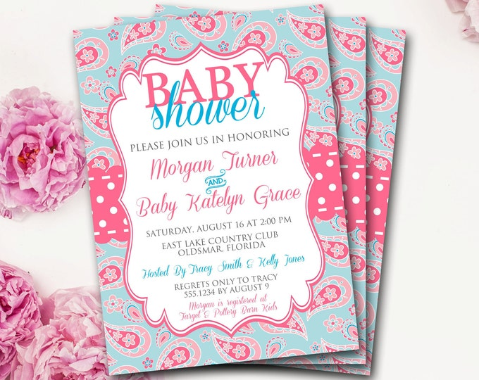 Pink And Blue Baby Shower Invitation, Paisley Baby Shower Invitation, Pink And Blue Shower Invitation, Neutral Baby Shower, Girl Baby Shower