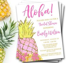 Pineapple Bridal Shower Invitation, Pineapple Shower, Pineapple Invitation, Pineapple Invite, Tropical Shower Invite, Luau Bridal Shower