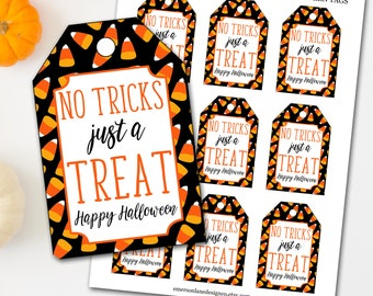 Halloween Tags, Halloween Treat Tags, No Tricks Just Treats Halloween Tags, Candy Halloween Tags, Trick or Treat Tags, Halloween Favor Tags