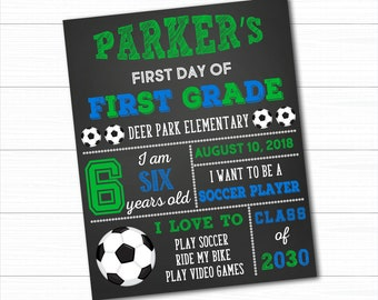 Soccer First Day Of School Sign, Back To School Sign, First Day Of School Chalkboard, 1st Day Of School Sign, Boy First Day of School Sign
