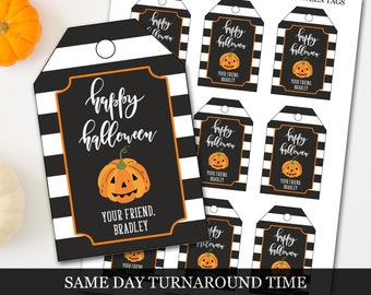 Halloween Tags, Halloween Treat Tags, Pumpkin Halloween Tags, Personalized Halloween Tags, Trick or Treat Tags, Halloween Goodie Bag Tags