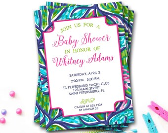 Preppy Floral Baby Shower Invitation, Pink And Blue Baby Shower Invitation, Preppy Baby Shower Invite, Lilly Invitation, DIY Printable