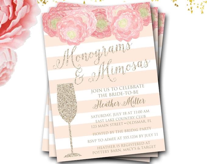Monograms And Mimosas Bridal Shower Invitation, Monograms And Mimosas Invitation, Brunch And Bubbly, Monogram Bridal Shower, Monogram Invite
