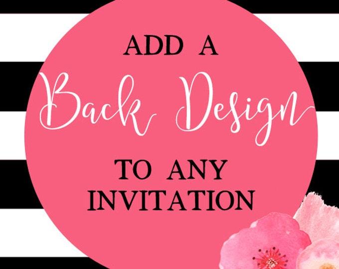 Add A Back Design To Any Invitation, Matching Back Design, Birthday Invitation, Baby Shower Invitation, Custom Back Design, DIY Printable