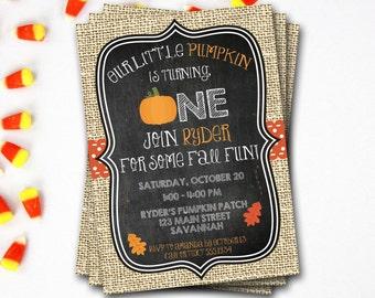 Pumpkin Birthday Invitation, Pumpkin First Birthday Invitation, Fall Birthday, Halloween Birthday, Pumpkin Invitation, Pumpkin Patch